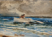 Grey Clouds Posters - Rowing at Prouts Neck Poster by Winslow Homer