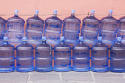Bottled Photo Prints - Rows of Water Jugs Print by Jeremy Woodhouse