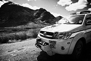 Glen Coe Prints - Royal Air Force Mountain Rescue vehicle in glen coe Scotland uk Print by Joe Fox