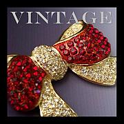 Vintage Jewelry Posters - Ruby Red Rhinestone Brooch Poster by Jai Johnson