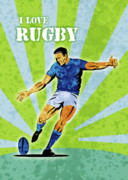 Ball Posters - Rugby Player Kicking The Ball Poster by Aloysius Patrimonio
