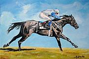 Jockey Paintings - Run like the wind by Jana Goode
