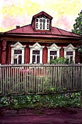 Wooden Mixed Media Metal Prints - Russian House Metal Print by Sarah Loft