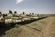 Old Objects Prints - Russian T-54 And T-55 Main Battle Tanks Print by Terry Moore