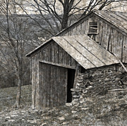 Tin Roof Prints - Rustic Hillside Barn Closeup Print by John Stephens
