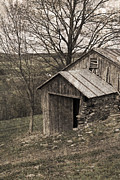 Tin Roof Posters - Rustic Hillside Barn Pasture Poster by John Stephens