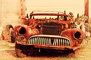 Rusty Old Cars Posters - Rusty Old American Car . 7D10343 Poster by Wingsdomain Art and Photography