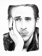 Charcoal Portrait Posters - Ryan Gosling Poster by Rosalinda Markle
