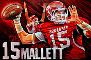 Razorbacks Posters - Ryan Mallett Poster by Jim Wetherington