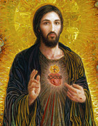 Christ Painting Framed Prints - Sacred Heart of Jesus Framed Print by Smith Catholic Art