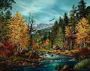 Colorado Mountain Stream Paintings - Sacred Path by W  Scott Fenton