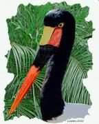 Stork Digital Art Posters - Saddle-billed Stork Poster by Larry Linton