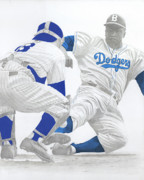 Jackie Robinson Drawings - Safe at Home by Eric Black