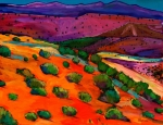 Colorful Contemporary Paintings - Sage Slopes by Johnathan Harris