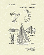 Edge Drawings Prints - Sailboat 1938 Patent Art Print by Prior Art Design