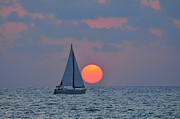 Sail Boats Posters - Sailboat at sunset  Poster by Shay Levy