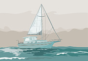 Sailboat Ocean Digital Art Prints - Sailboat Retro Print by Aloysius Patrimonio