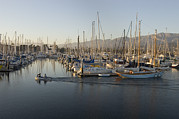 Docks Photos - Sailboats Docked In The Santa Barbara by Rich Reid