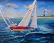 Lookout Painting Prints - Sailing at Cape Lookout Print by Sharon Kearns
