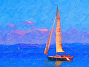 Bay Area Digital Art Metal Prints - Sailing in The San Francisco Bay Metal Print by Wingsdomain Art and Photography