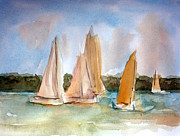 Boats. Water Paintings - Sailing  by Julie Lueders