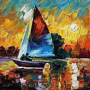Yacht Painting Originals - Sailing by Leonid Afremov
