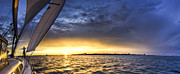 Amazing Sunset Photo Posters - Sailing Sunset Charleston SC Poster by Dustin K Ryan