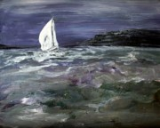 Sailboat Ocean Painting Originals - Sailing the Julianna by Julie Lueders