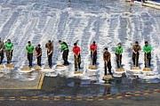 Maintenance Posters - Sailors Perform A Flight Deck Wash Poster by Stocktrek Images