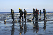 Operation Push Prints - Sailors Scrub The Flight Deck Aboard Print by Stocktrek Images