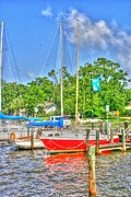 Docked Boat Digital Art Prints - Sails Down Print by Barry Jones