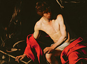 Red Robe Paintings - Saint John the Baptist by Michelangelo Caravaggio