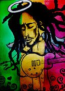 Celebrities Glass Art Prints - Saint Marley Print by Asa Charles