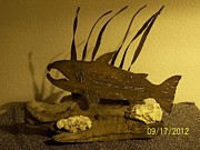 Found Art Sculpture Metal Prints - Salmon on Driftwood Metal Print by JP Giarde