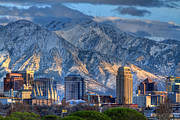Snowy Night Art - Salt Lake City Utah USA by Utah Images