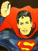 League Painting Prints - Saluations to Superman Print by Sherri Wade