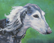 Sighthound Framed Prints - Saluki Framed Print by Lee Ann Shepard