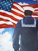 Patriotism Painting Posters - Saluting Sailor Poster by Suzanne  Frie