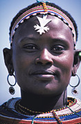 Pierced Ears Posters - Samburu Maiden in Kenya Poster by Carl Purcell