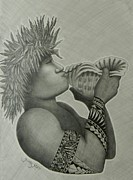 South Pacific Drawings Prints - Samoan Taulima Print by Kristy Mao