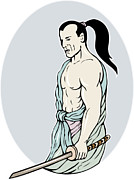 Sword Cartoon Prints - Samurai warrior with katana sword Print by Aloysius Patrimonio