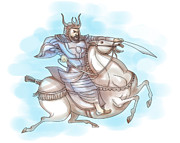 Sword Cartoon Prints - Samurai warrior with sword riding horse Print by Aloysius Patrimonio