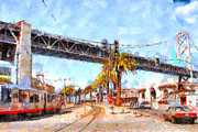 Metro Digital Art Prints - San Francisco Bay Bridge at The Embarcadero . 7D7706 Print by Wingsdomain Art and Photography