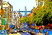 Bay Bridge Digital Art Prints - San Francisco Bay Bridge Through Chinatown Print by Wingsdomain Art and Photography