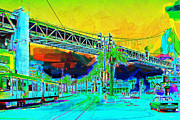 Bay Bridge Digital Art Prints - San Francisco Embarcadero And The Bay Bridge Print by Wingsdomain Art and Photography