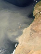 Sand Storm Prints - Sand Storm Over Canary Islands Print by Nasa