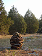 Environmental Sculpture Prints - Sandstone Cairn nature art Sculpture Print by Adam Long