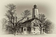 Vintage House Prints - Sandy Hook Lighthouse Print by Arnie Goldstein