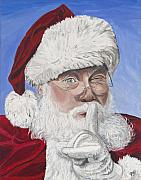 Psovart Painting Prints - Santa Claus Print by Patty Vicknair
