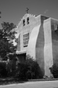 Religious Prints Photos - Santa Fe - Adobe Church by Frank Romeo